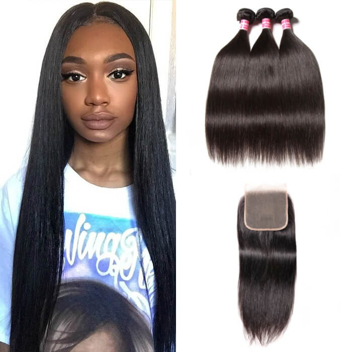 Kriyya Indian 3 Bundles With 5*5 Lace Closure Straight 100% Human Hair