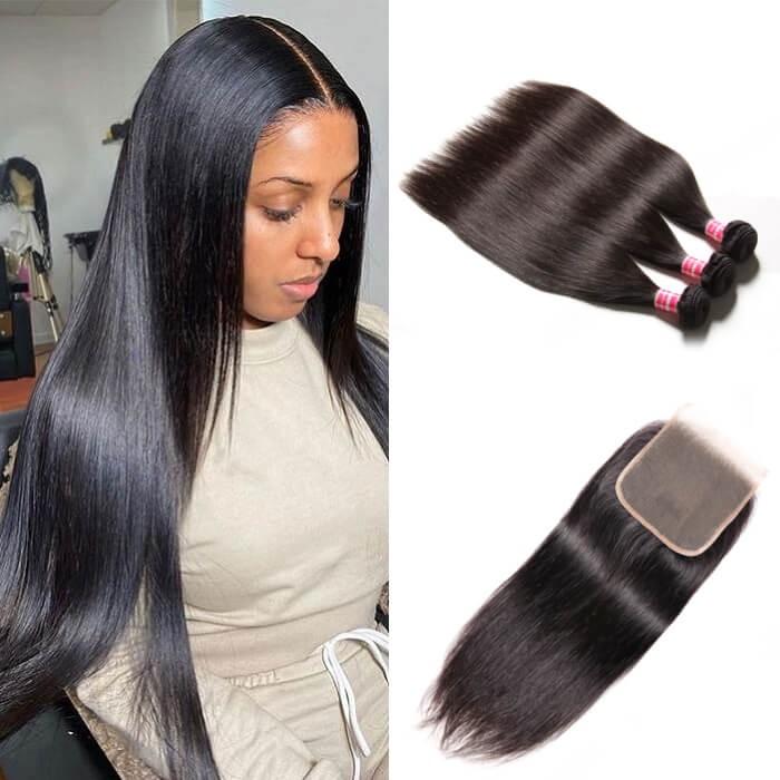 Kriyya Peruvian 100 Human Hair 3 Bundles With 5*5 Lace Closure Straight Human Hair