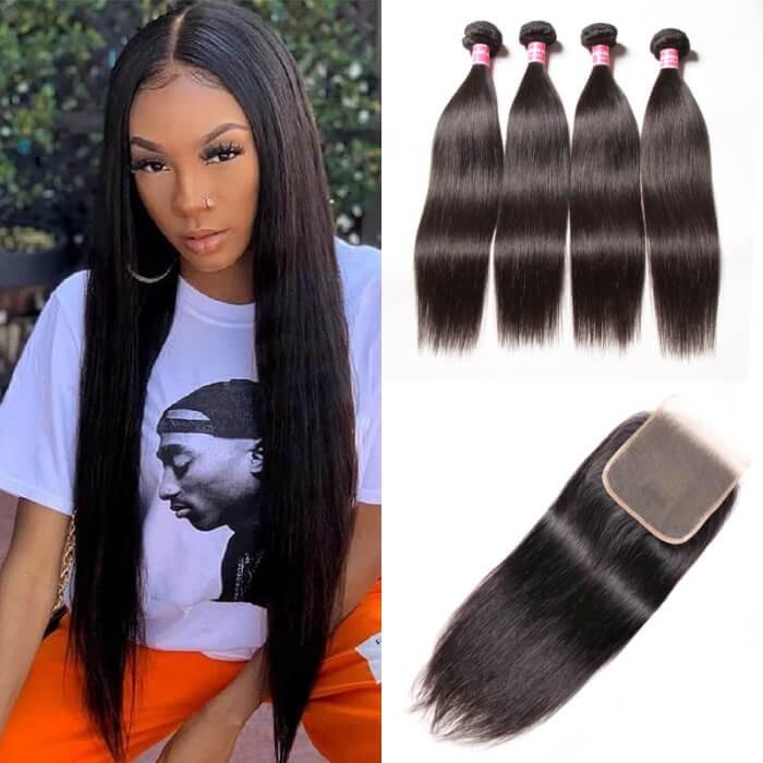 Kriyya Hair 4 Bundles With 5x5 Lace Closure Peruvian Straight Virgin Human Hair