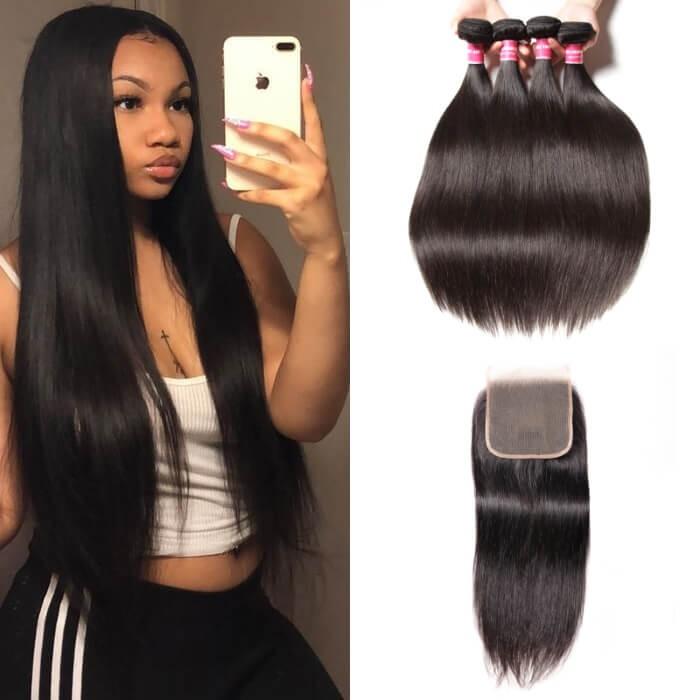 Kriyya Straight Hair 4 Bundles Sew In With 5x5 Closure Indian Remy Hair