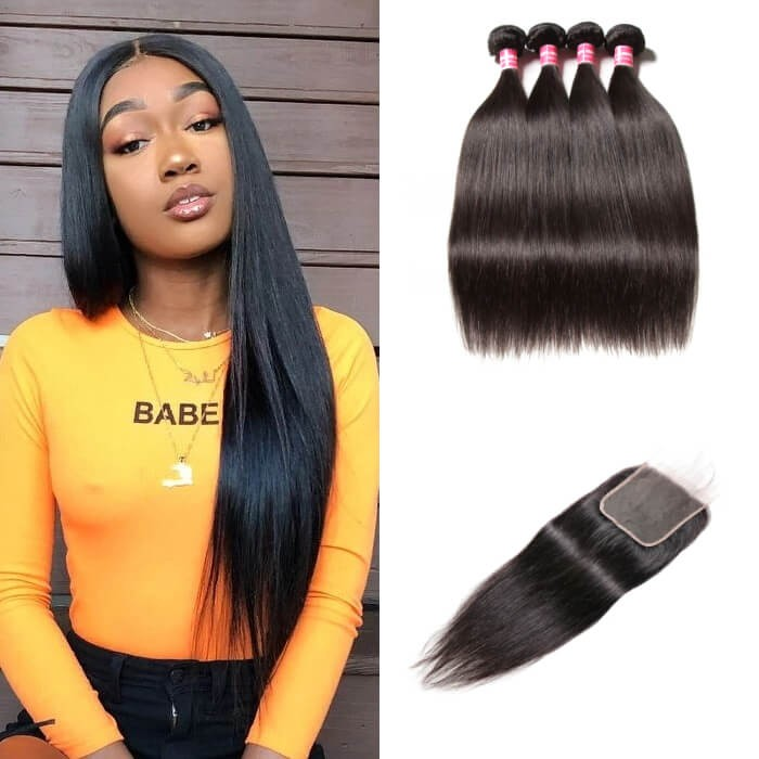 Kriyya Brazilian Straight Weave 4 Bundles With 5x5 Closure With Baby Hair