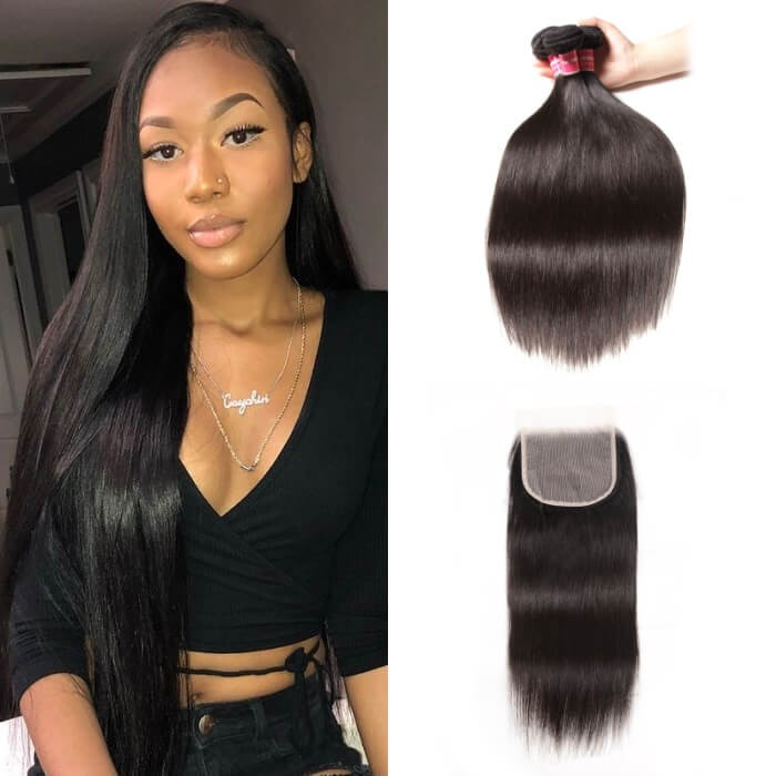 Kriyya Indian Virgin Hair Straight 3 Bundles With Transparent Lace Closure 5*5 Inch