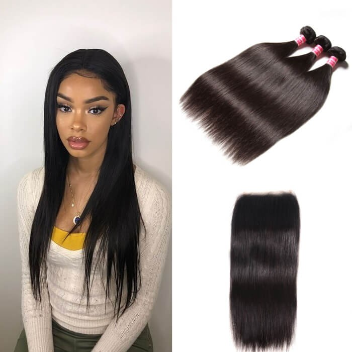 Kriyya Peruvian Unprocessed Virgin Hair 3 Pcs Straight With 5*5 Transparent Lace Closure