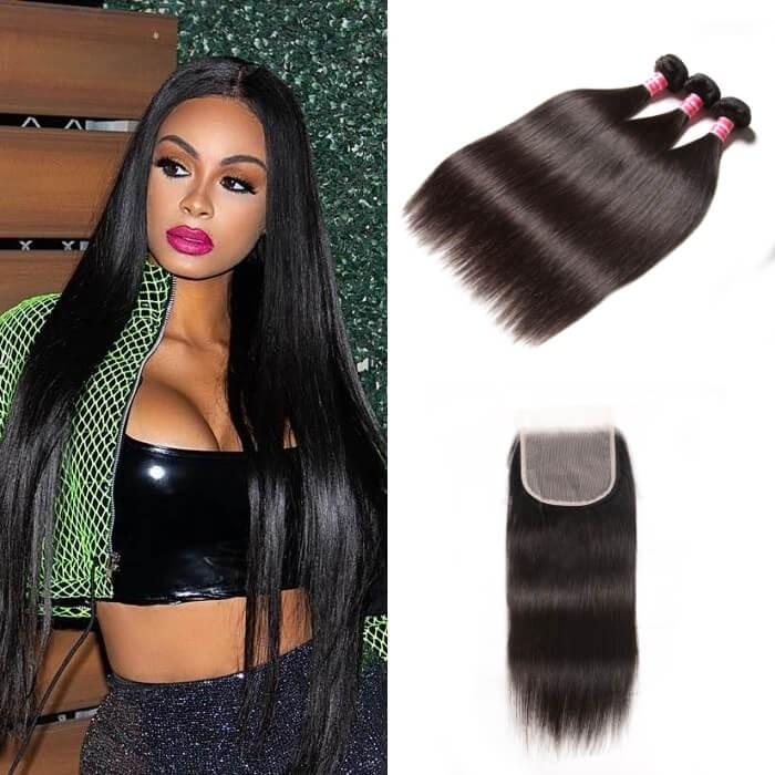 Kriyya Malaysian 100 Human Hair 3 Bundles With 5*5 Transparent Lace Closure Straight Hair