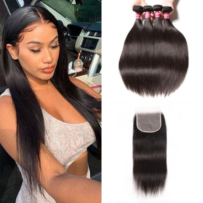 Kriyya Brazilian 4 Bundles Straight Hair Weave With 5x5 Transparent Lace Closure