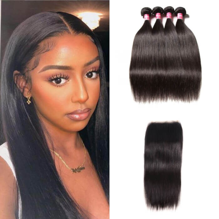 Kriyya Indian Straight 5X5 Transparent Lace Closure Sew In With 4 Bundles Remy Human Hair
