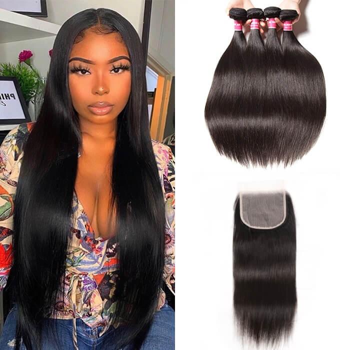 Kriyya Peruvian Straight Hair Weave 4 Bundles With 5x5 Lace Closure