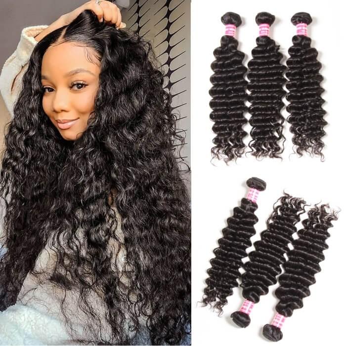 Kriyya Natural Wave Bundles 4 Pcs Indian Unprocessed Virgin Hair