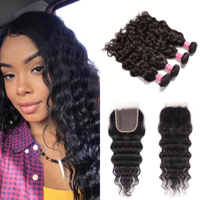 Kriyya Brazilian Hair Natural Wave Weave 4 Bundles With 4x4 Lace Front Closure