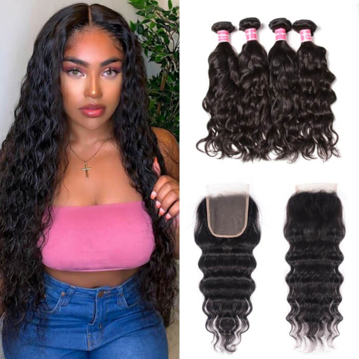 Kriyya Indian Hair Natural Wave Weave 4 Bundles With 4x4 Lace Front Closure