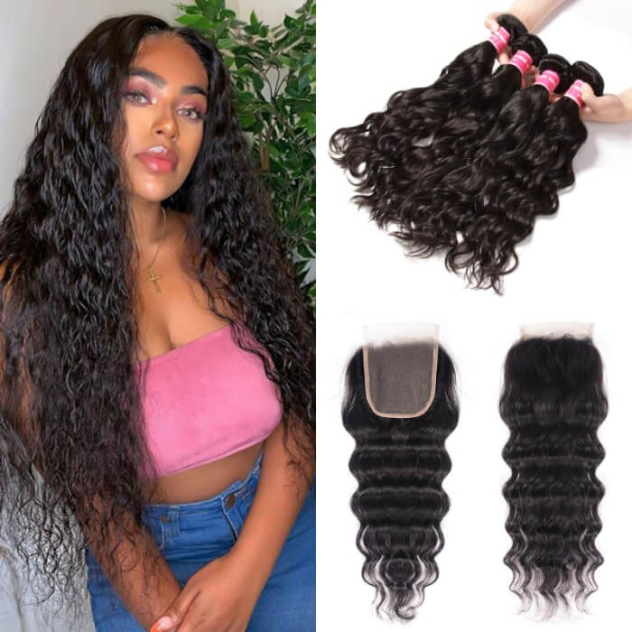 Kriyya 4x4 Lace Front Closure With Peruvian Natural Wave Sew In Weave 4 Bundles
