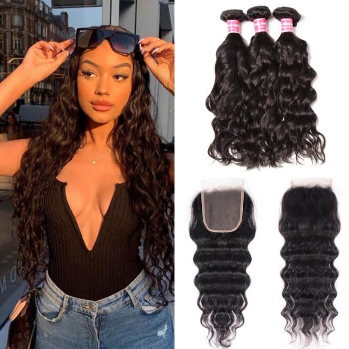 Kriyya Brazilian Virgin Human Hair 3 Pcs Natural Wave With 4*4 Lace Closure