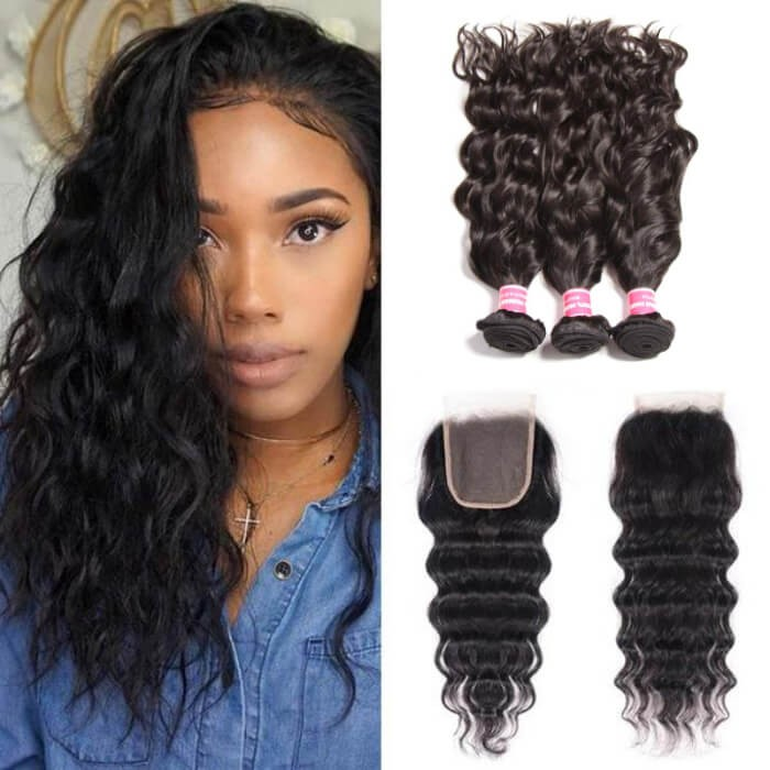 Kriyya Peruvian Hair 3 Bundles Natural Wave  With 4*4 Lace Closure