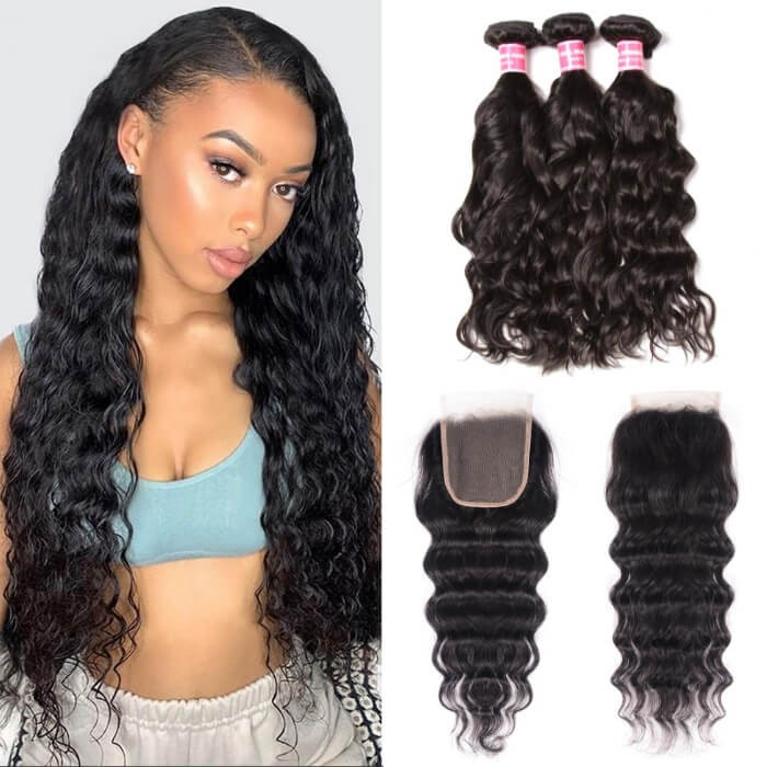 Kriyya Malaysian Natural Wave Remy Human Hair 3 Bundles With 4*4 Lace Closure