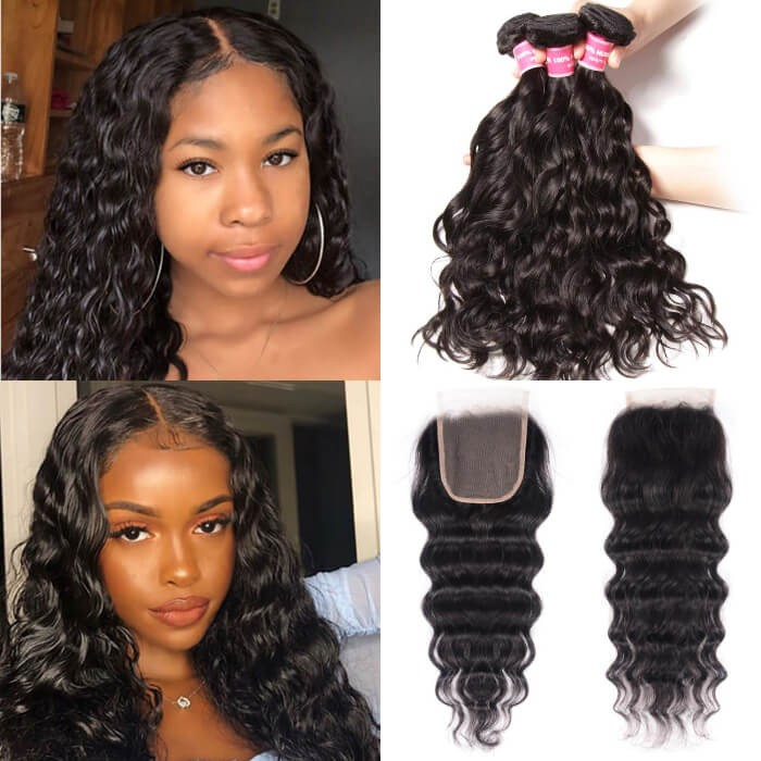 Kriyya Indian Virgin Remy Hair 3 Bundles Natural Wave With 4*4 Lace Closure