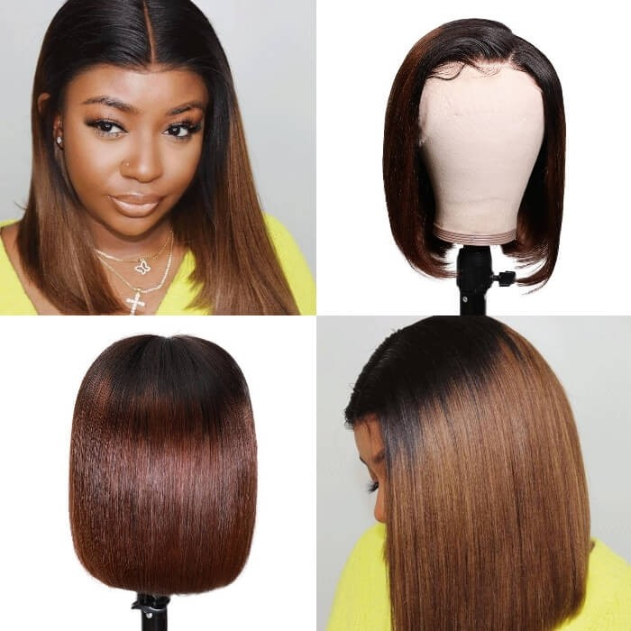 Kriyya Ombre Chestnut Brown Short Bob Lace Front Wig 13x4 Human Hair Wigs 150% Density