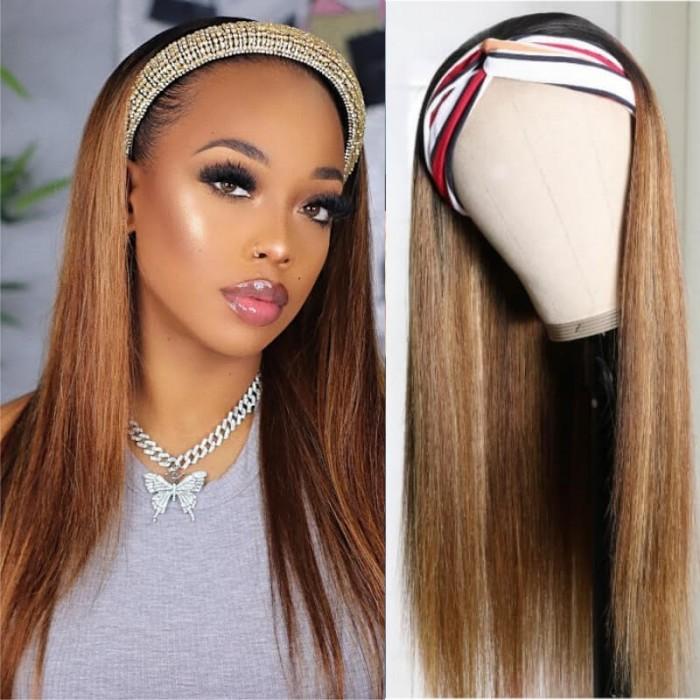 Kriyya Ombre Headband Wigs Straight Human Hair Wig Dark Rooted Honey Blonde Wigs 1BTL412