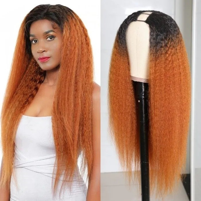 Kriyya Middle Part U Part Wig Human Hair Kinky Straight T30 Ombre Brown Glueless Wigs