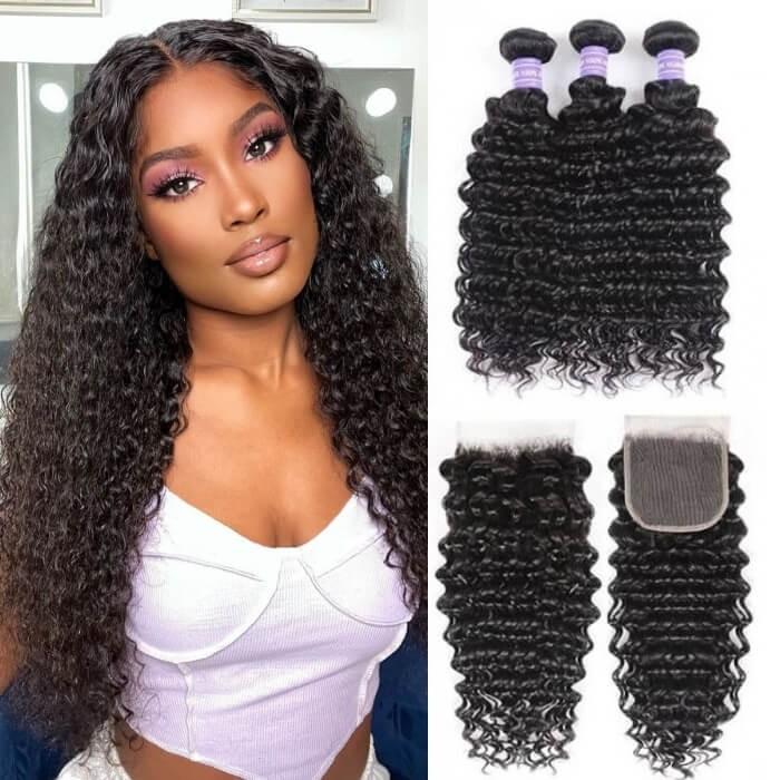 Kriyya Peruvian 100% Human Hair Deep Wave 3 Bundles With Lace Closure 4 X 4 Inch