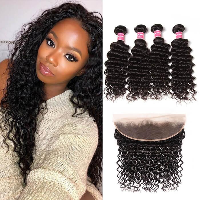 Kriyya Peruvian Deep Wave Wet And Wavy Virgin Hair 13x4 Lace Frontal With 4 Bundles Deals