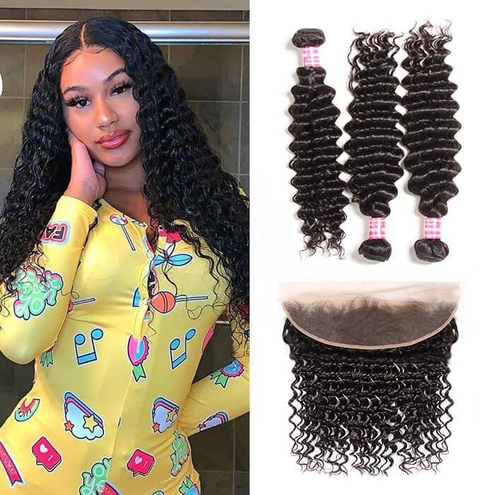 Kriyya 3 Pcs Deep Wave With 13*4 Lace Frontal Peruvian Remy Human Hair