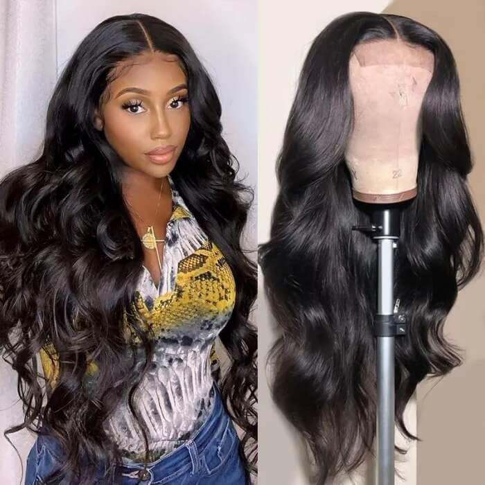 Kriyya Pre-Plucked 13X6 Transparent Lace Front Human Hair Wig Body Wave Lace Wig 150% Density