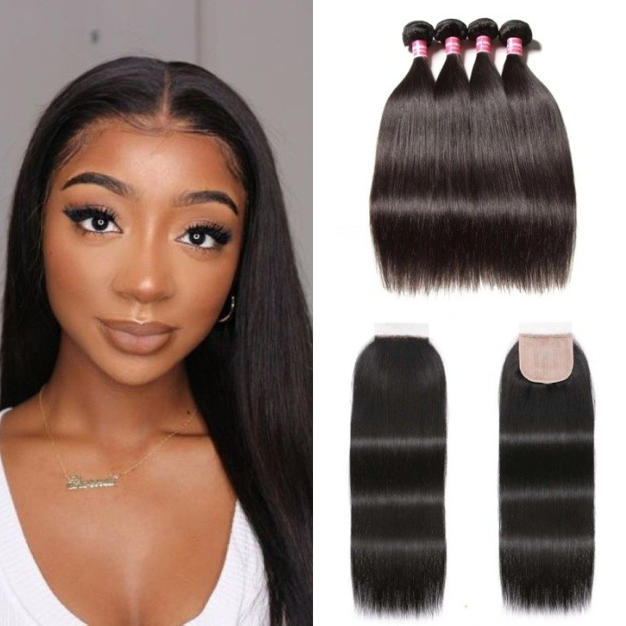 Kriyya Straight Human Hair 4 Bundles With 4X4 Pu Scalp Closure 16-20 Inch Natural Color