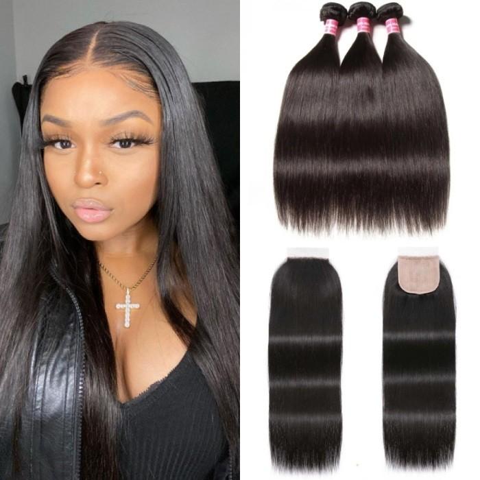 Kriyya Straight 3 Bundles With 4x4 PU Skin Closure Fake Scalp Human Hair Natural Black 16-20 Inch