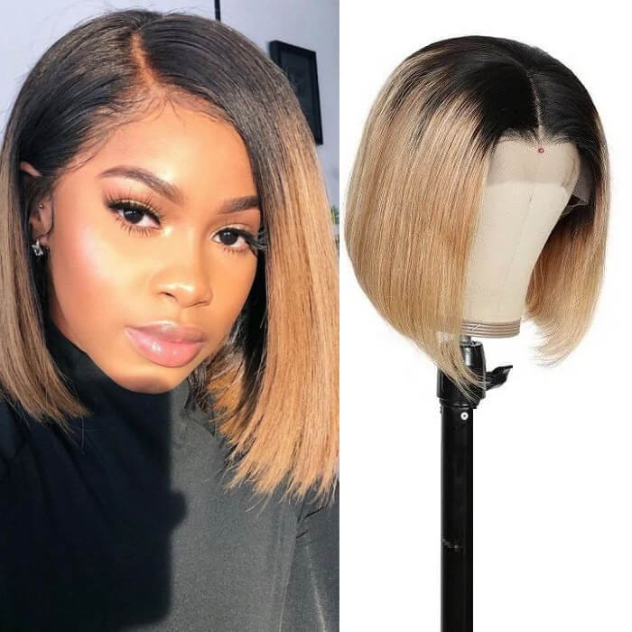 Kriyya 13x4 Short Bob Lace Front Wig Blunt Cut Ombre Blonde Human Hair Wigs 150% Density