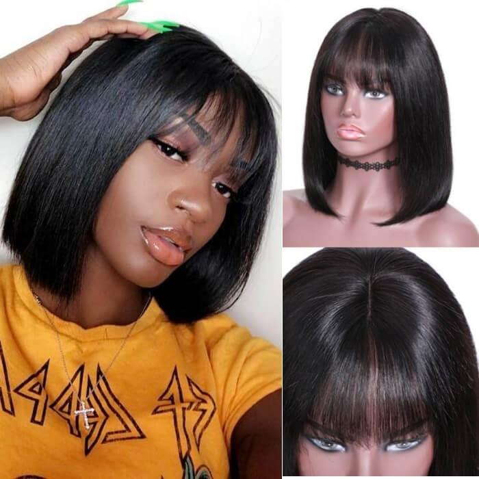 Kriyya Short Straight Wigs 13x4 Lace Front Human Hair Blunt Cut Bob Wig With Bangs 130% Density