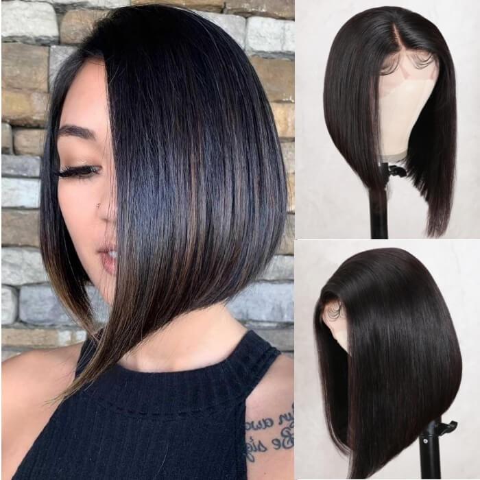 Kriyya Side Part Short Blunt Cut Bob Lace Front Wig Asymmetric Bob Wigs
