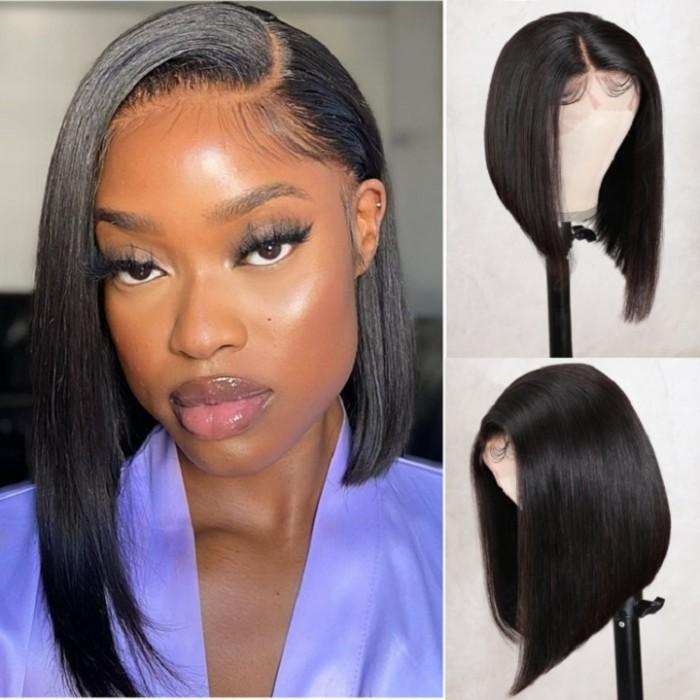 Kriyya Human Hair Bob Wigs With Side Part Short Blunt Cut  Lace Front Wig Asymmetric Bob Wigs