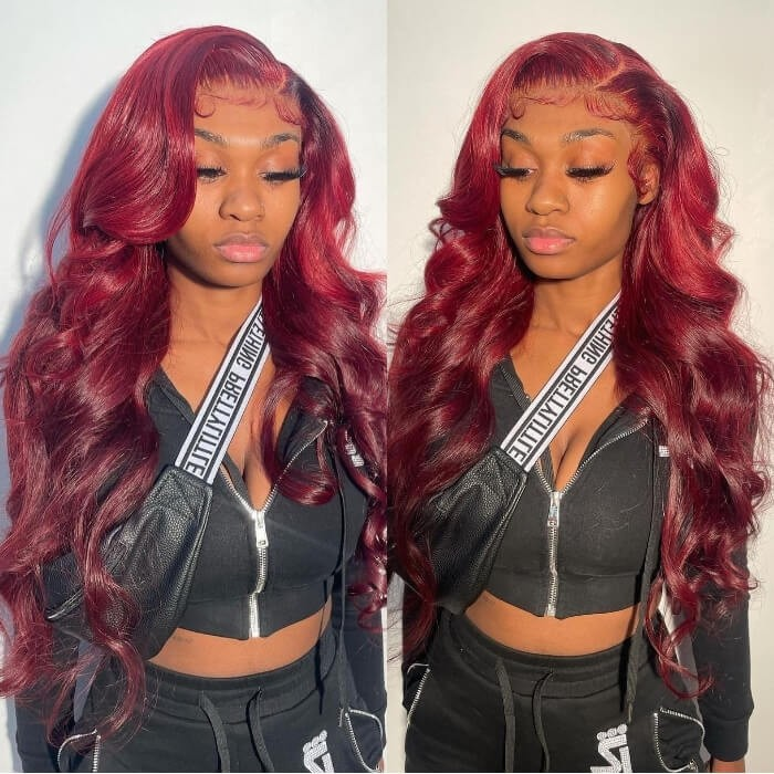 Kriyya 99J Burgundy Lace Front Wig Straight 13x4 Human Hair Wig Pre Plucked With Baby Hair