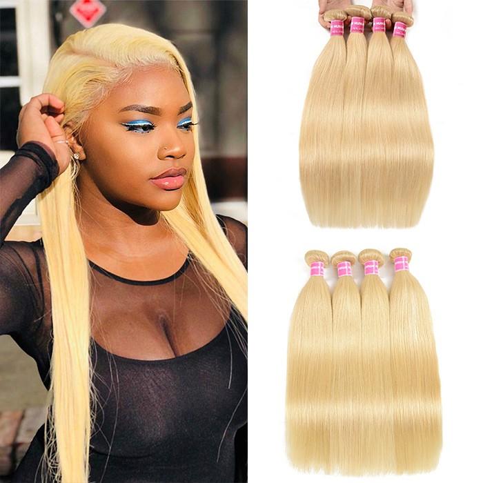 Kriyya Straight Hair Hair 4 Bundles 613 Blonde Peruvian Human Hair