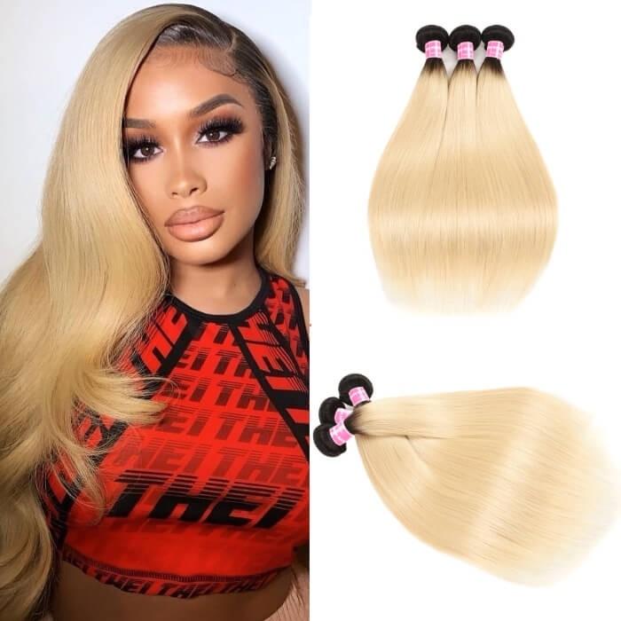 Kriyya Straight Hair T1B/613 Color 3 Bundles Hair Bundle Deals Peruvian Hair