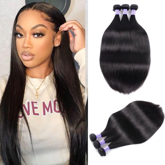 Kriyya Straight Hair Weave 3 Bundle Deals Malaysian Unprocessed 7A Virgin Hair