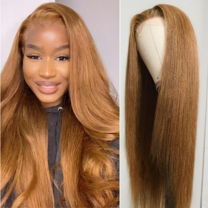 Kriyya Straight Hair Wig 150% Density Middle Part Lace Part Wig Ginger Blonde Brazilian Virgin Hair