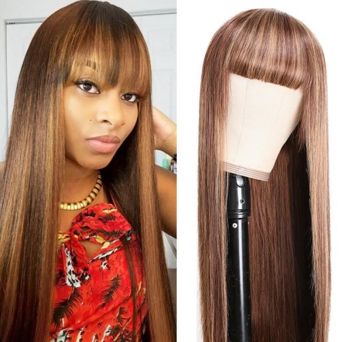 Kriyya Straight Streaks Wig With Bangs Honey Blonde Highlight Human Hair Capless Wig