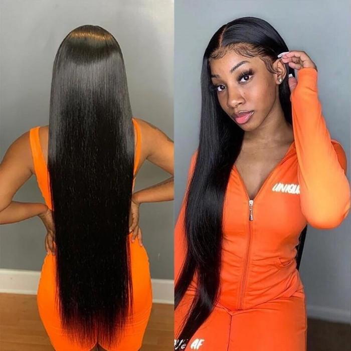 Kriyya Straight Human Hair Wigs Pre Plucked 4x4 Human Hair Lace Wig 150% Density