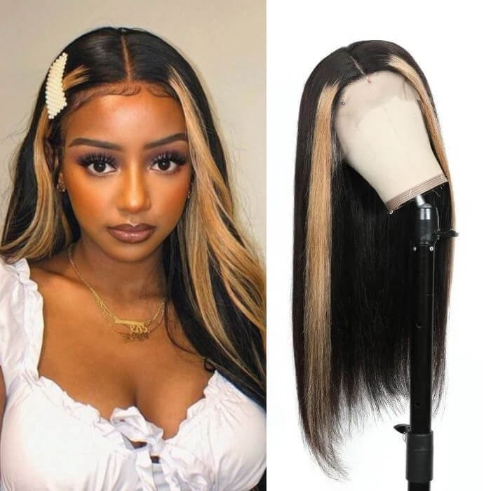 Kriyya 13x4 Straight Lace Front Wigs With Streaks Honey Blonde Highlight Wig Human Hair 180% Density