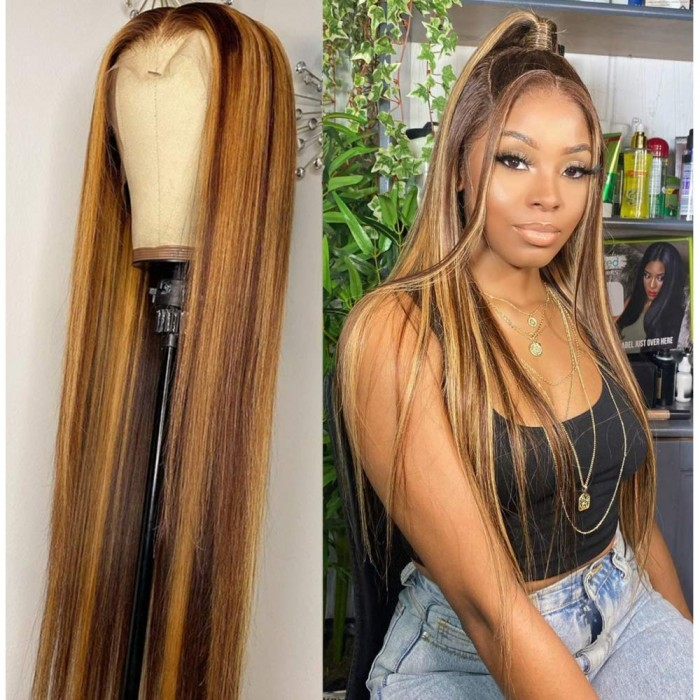 Kriyya Straight Three Part Lace Part Wigs Blonde Brown Highlight TL412 150% Density Double U Human Hair Wigs