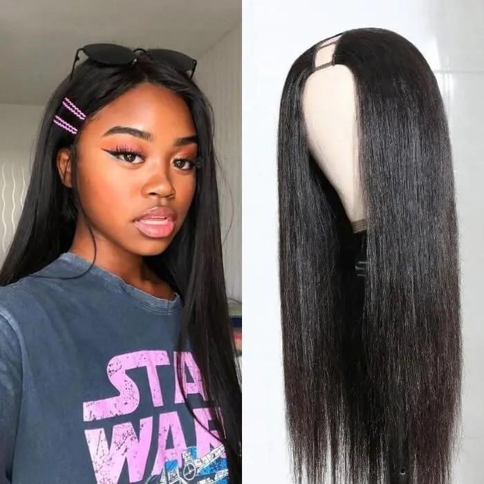 Kriyya Straight U Part Wig Virgin Hair 2X4 Middle Part 150% Density Natural Color 12-24 Inch