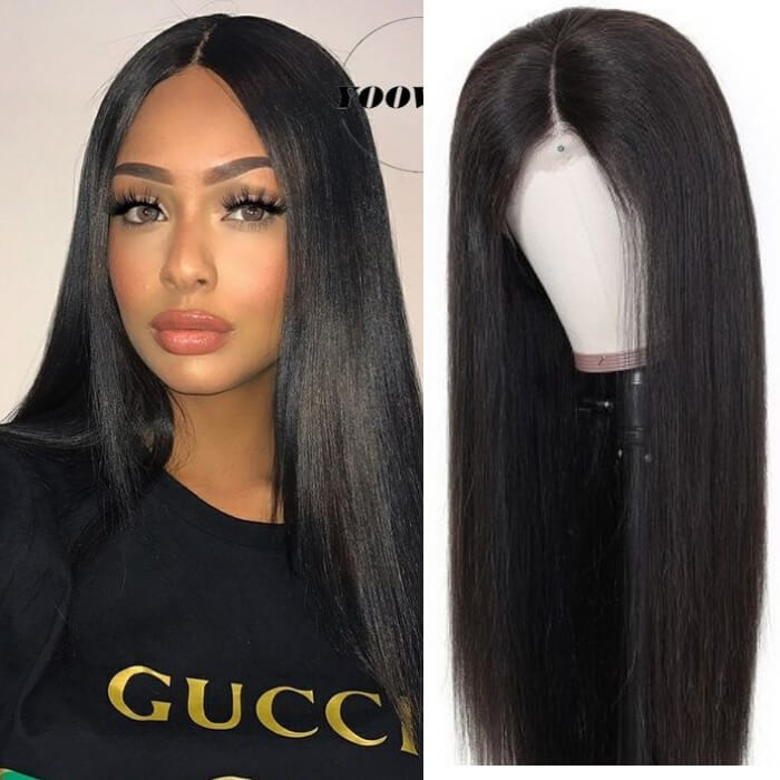 Kriyya Pre Plucked 13x4 Straight Lace Front Wigs 130% Density Remy Human Hair Wig
