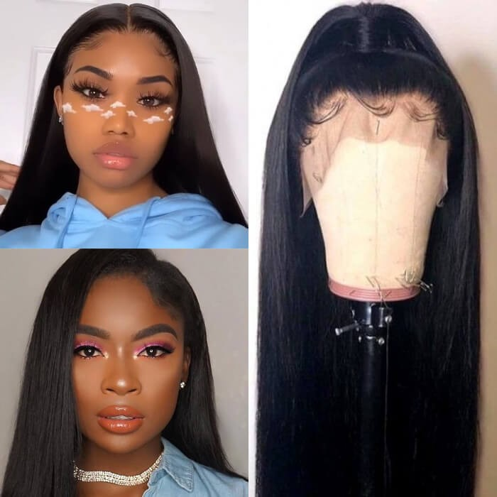 Kriyya 100% Hand tied Straight Full Lace Wig 150% 180% Density Pre Plucked Hairline