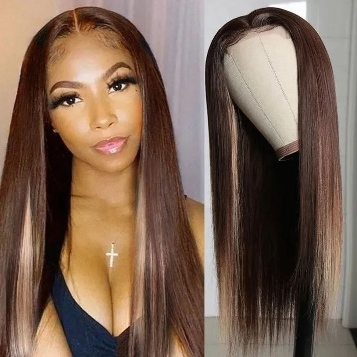 Kriyya Straight Wigs Virgin Hair 13x4 Lace Front Wigs Human Hair 4/27 Blonde Highlight Wig 150% Density