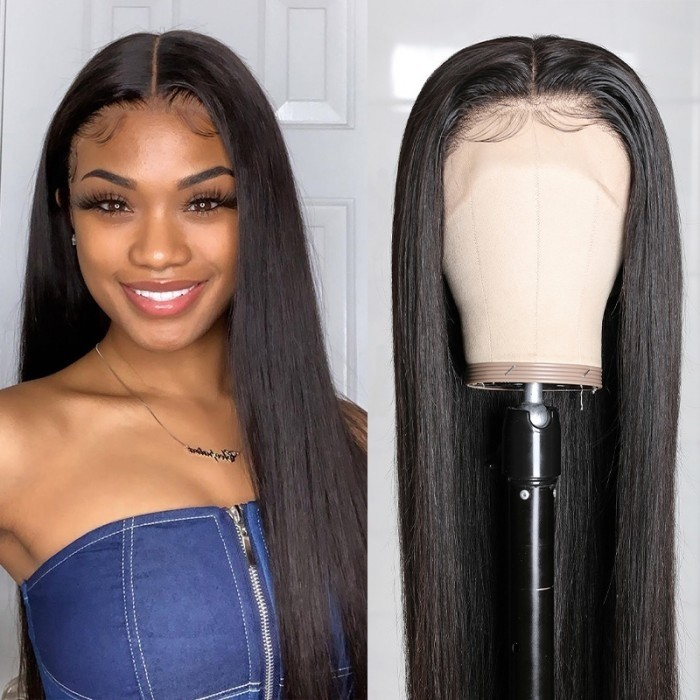 Kriyya T-Part Lace Wigs Straight Hair Middle Part Lace Frontal Wig 13 by 5 Deep Part Lace Wigs