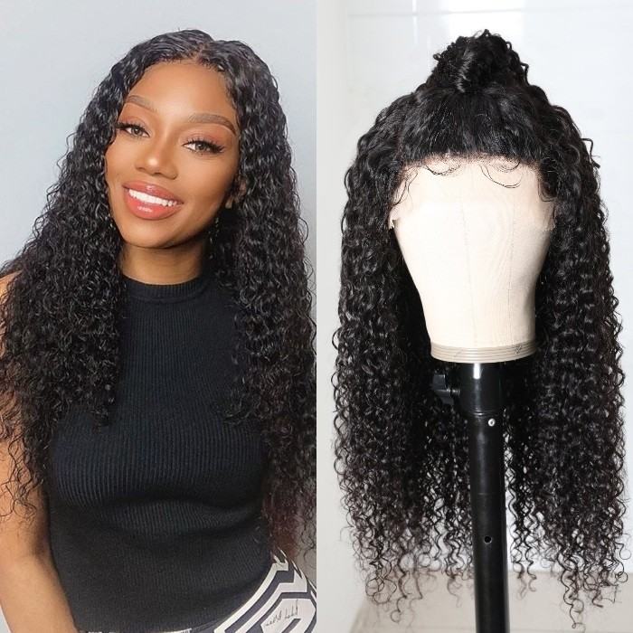 Kriyya Virgin Hair Jerry Curly Three Part Lace Part Wig 150% Density Pre-Plucked Double U Lace Wigs