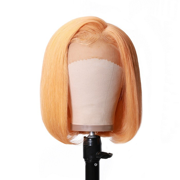 Kriyya Yellow Bob Lace Front Wigs 13x4 Straight 150% Density Human Hair Wigs