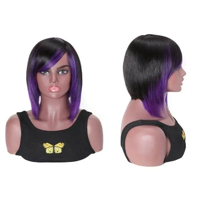 Kriyya Bob Glueless Wigs Purple Highlight Layered Bob Wigs With Bangs 150% Density