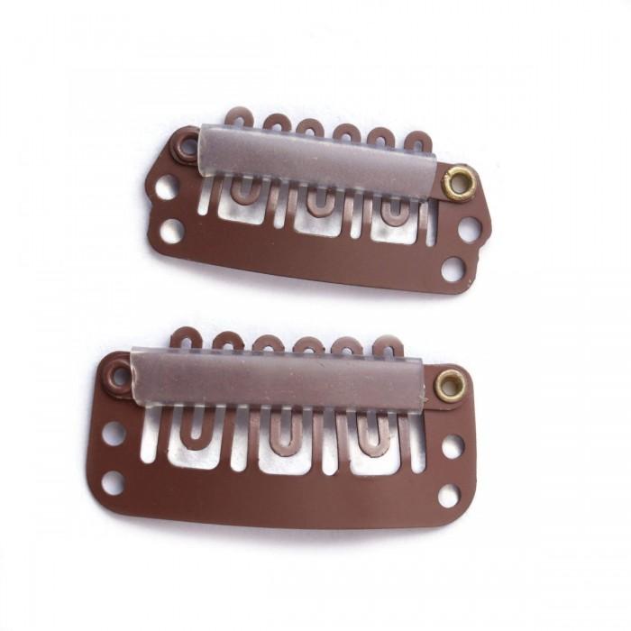 Light Golden Brown U-shape Metal Clips 5 Pieces